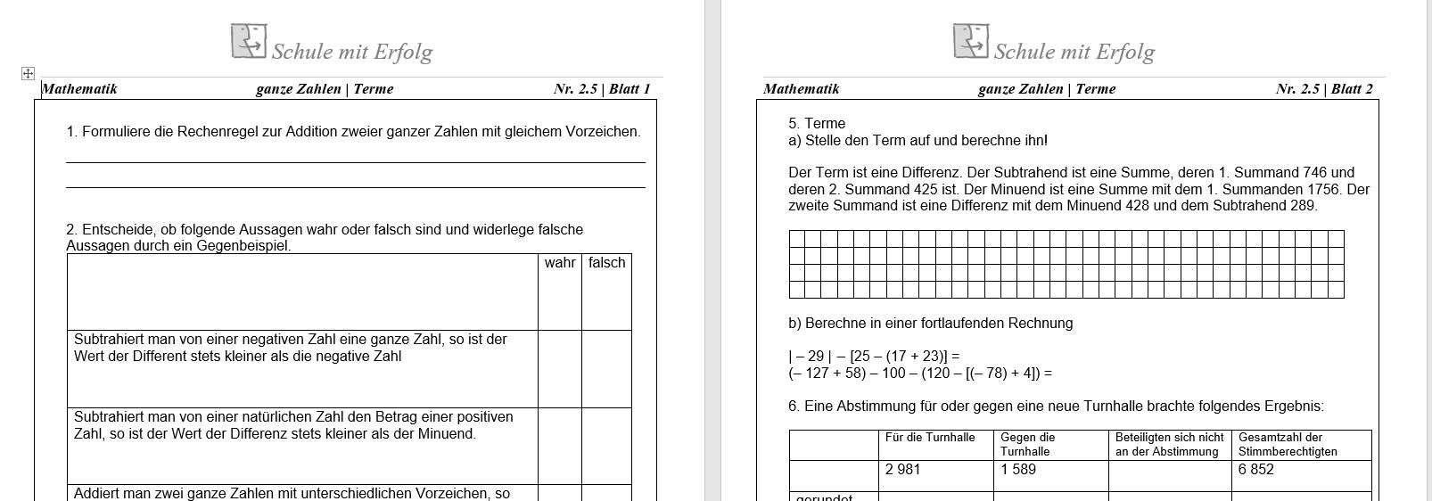 Schule mit erfolg Gymnasium mathematik 5klasse