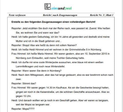 5 Realschule Deutsch Bericht